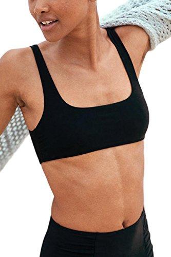 Black Top In Square Neck (AdoreShe Women's True Black Square Neck Vest Bikini Cheeky Racerback Tankini Crop Top No Bottom (A18086, Black, M))