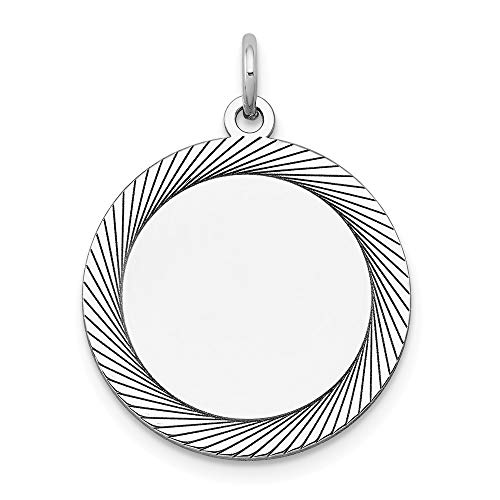 (14k White Gold Etched Design .027 Gauge Round Engravable Charm, 14 kt White Gold)