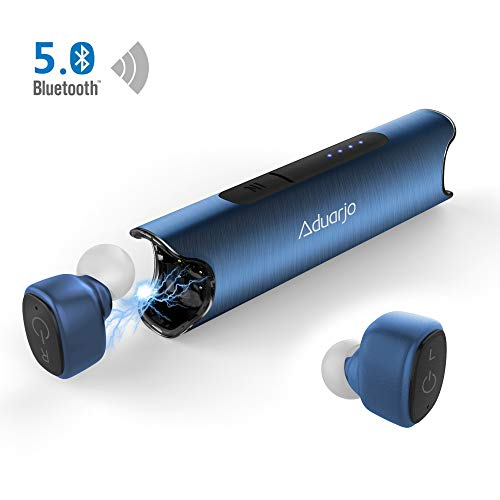- Wireless Earbuds Bluetooth 5.0, Aduarjo True Wireless Headphones Noise Cancelling Portable IPX7 Waterproof Mini Earphone with Charging Case Premium Deep Stereo Bass Built in Mic for Running Sport