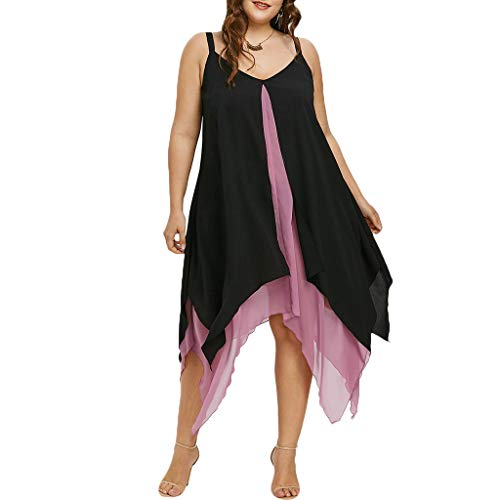 BOLUOYI Women Plus Size Chiffon V-Neck Solid Insert Layered High Low Sleeveless Dress Pink