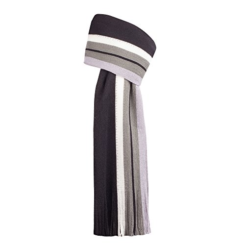- SCF153-Knitted Black Narrow Stripe Scarf with Fringe