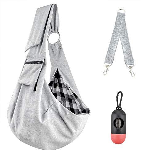 U-pick Pet Sling Carrier Bag - Reversible Hand-Free Travel Bag for Small&Medium Dog with Adjustable&Safety Strap