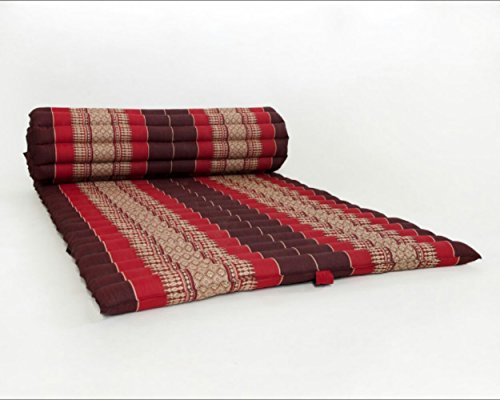 Design by UnseenThailand Roll Up Thai Mattress, Kapok Fabric, Premium Double Stitched, 79x30x2 inches. (Dark Red Red) by UnseenThailand Warehouse
