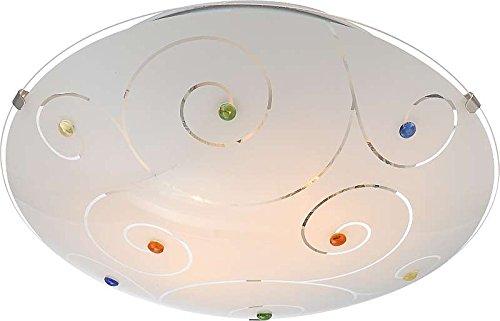Elegant Deckenlampe 2 Flammig Deckenleuchte Schlafzimmer Lampe Glas Satiniert  Steine Bunt (Deckenlicht, Deckenstrahler, Wohnzimmer
