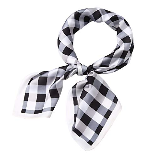 AOLIGE Hair Scarf Satin Head Neck Scarfs for Women (plaid black-white) ()