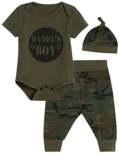 Daddy's Baby Boys' 3PCS Outfit Set Romper Camouflage Pants with Hat (0-3 Months) (Boy Camo Baby Clothes)