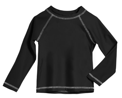 Solid L/s Tee - Little Boys' and Girls' Solid Rashguard Swimming Tee Shirt Rash Guard SPF Sun Protection for Summer Beach Pool and Play, L/S Black, 4