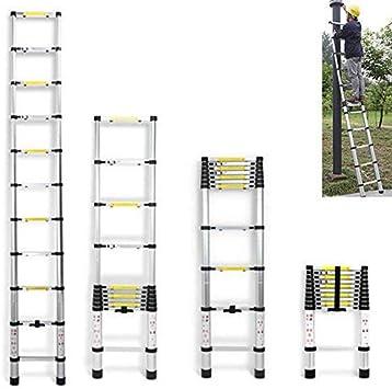Escalera telescópica portátil multiusos de 3,2 m, 11 peldaños de aluminio, para casa o oficina, extensible hasta 150 kg: Amazon.es: Bricolaje y herramientas