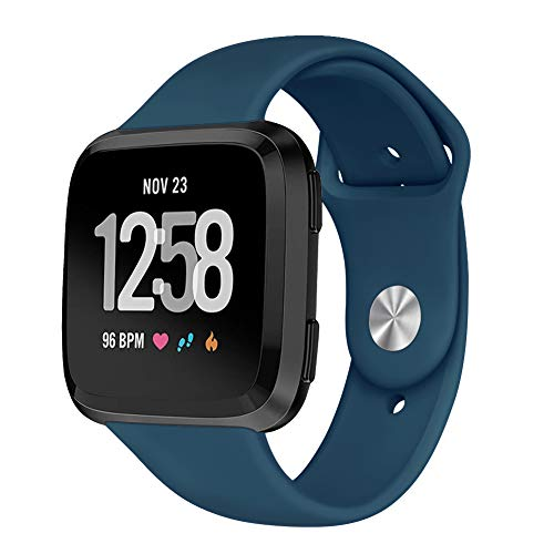 Blue Royal Band - Kmasic Sport Band Compatible Fitbit Versa/Fitbit Versa Lite Edition, Soft Silicone Strap Replacement Wristband Fitbit Versa Smart Fitness Watch, Large Small, Royal Blue, Large