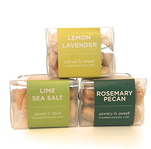Thumbs Cookies Variety Pack of Fresh Baked Cookies in 3 Boxes - Rosemary Pecan, Lime Sea Salt, Lemon Lavendar - 1 lb. Cookie Gift Box by Thumbs Cookies