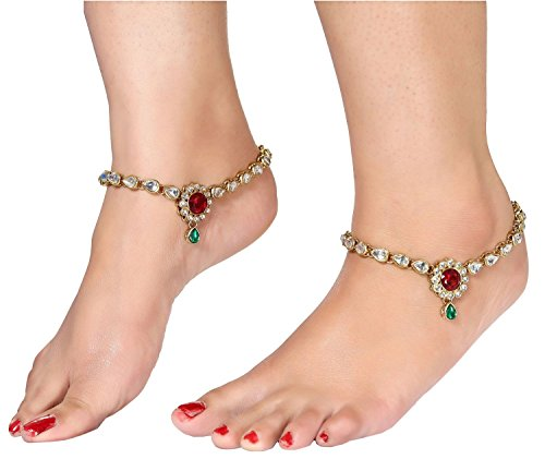 Charms Antique Golden Alloy Kundan Anklet For Women & Girls by Charms