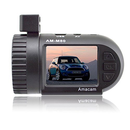 Dash Cam Car Video Recorder - Mini HD Camera. Clear 1.5 Inch LCD Screen. Compact and Very Easy to Install. Supports up to 32GB Memory Cards. Dashboard Digital Driving Black Box For You. Amacam AM-M80.