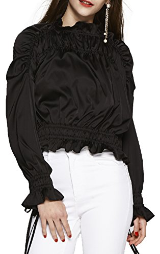 Women's Turtle Neck Long Sleeve Smocking Blouse Tops (Black, Small)