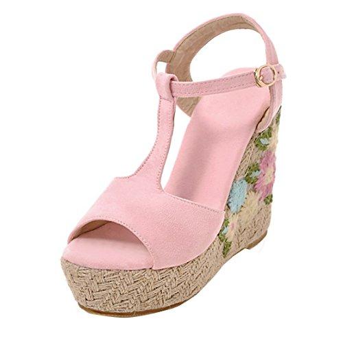 AIYOUMEI Damen Tspangen Peep Toe Keilabsatz Sandalen mit mit Sandalen Blumen und ... 1bfa52