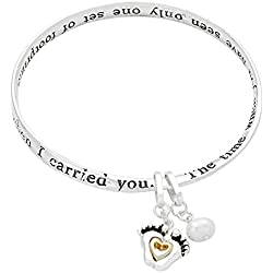 "Lola Bella Gifts ""Footprints in The Sand Bangle Bracelet with Prayer Card and Gift Box"