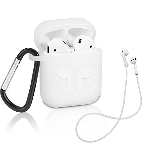 Rbaysale AirPods Accessories Set, Protective Case Cover with Anti-lost Strap, Keychain, Shockproof Silicone Earphone Accessories Storage Bag for Apple Airpod(White) ()