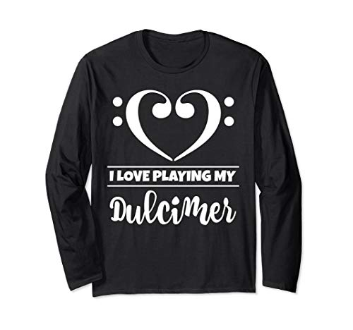 Bass Clef Musical Heart I Love Playing My Dulcimer Musician Long Sleeve T-Shirt