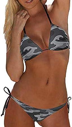 Fanvans Donne Triangolo Bikini SoUrcerer Lato Basso Esercito Camouflage 2PCS Swimsuits
