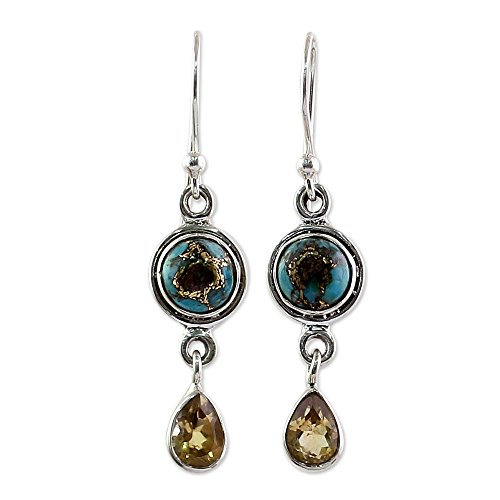 - NOVICA Citrine Turquoise .925 Sterling Silver Dangle Earrings, Sunny Droplets'