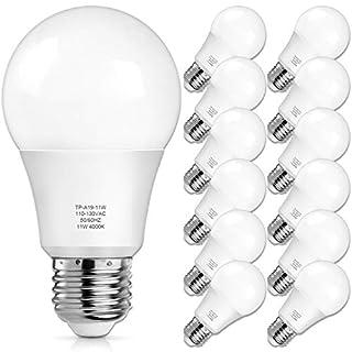 A19 LED Light Bulbs, 100 Watt Equivalent LED Bulbs, Daylight White, 1100 Lumens, Standard E26 Medium Screw Base, CRI 85+, 25000+ Hours Lifespan, No Flicker, Non-Dimmable, Pack of 12