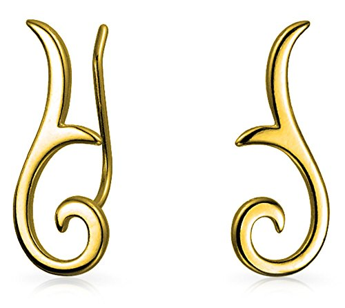 Minimalist Geometric Tribal Scroll Ear Pin Crawlers Climbers Earrings For Women For Teen 14K Gold Plated Sterling Silver