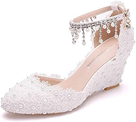 Ivory Lace Wedding Shoes Wedges Tassel Flow Ankle Buckle Pearl