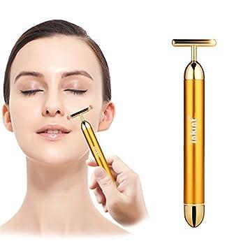 inkint 24K Golden Energy Beauty Bar Face Pulse Firming Massager Waterproof Facial Roller Massage Stick Skincare Wrinkle Treatment Lady Body Care (Golden)