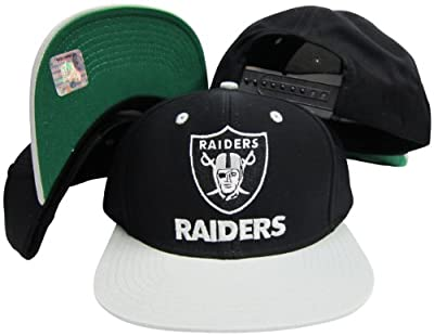 Reebok Los Angeles Raiders Word Black/Silver Two Tone Plastic Snapback Adjustable Plastic Snap Back Hat/Cap