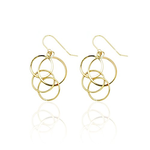 14k Yellow Gold Dangling Circles Drop Earring with Fish Hook in Gift Box for Women and Teen Girls by SL Gold Imports