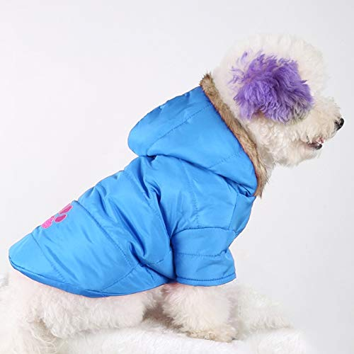 bluee Autumn and Winter Style Pet Embroidered Dog Thicken Warm Cotton Size  XXS, Bust  25-30cm, Neck  17-21cm (color   bluee)