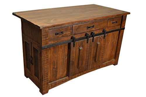 Kitchen Cart Antique Oak Base (Crafters and Weavers Granville 3 Drawer Kitchen Island w/2 sliding doors & 2 Mesh doors / Kitchen Counter)