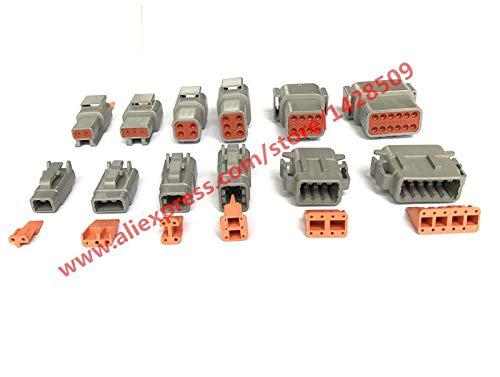 Davitu 30 juegos Deutsch DTM 2-12P macho hembra conector impermeable automático con clavijas/terminales de enchufe sellado...
