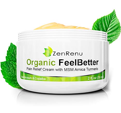 Organic Cream for Pain & Skin Relief by ZenRenu | MSM Turmeric Arnica, Helichrysum, Copaiba | Help for Eczema, Psoriasis, Dermatitis, Rashes | Relieve Muscle, Joint & Arthritis Pain