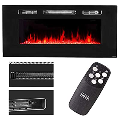 "SABADIVA Electric Fireplace Insert Wall Fireplace | 1 Pc Electric Fireplace 40"" 1500w Recessed/Wall Mount Fireplace Electric Insert Heater Multi Flames"