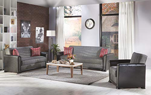 ISTIKBAL Multifunctional Furniture Living Room 3 Piece Set (1 Sofa, 1 Love Seat, 1 Arm Chair) Redeyef Fume ALFA Collection