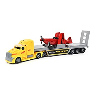 Sunny Days Entertainment Big Rig – Lights and Sounds Pull Back Toy with Friction Motor | Receive Either The Airplane Transport Semi or Oil Tanker | Color May Vary – Maxx Action