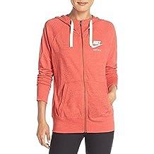 Nike Womens Gym Vintage Full Zip Hoodie Light Crimson/Sail 813872-696 (M)