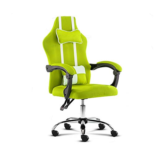 Bseack Office Chair, Reclining Computer Chair Elevating Rotary with Headrest and Lumbar Pillow Ergonomics Armchair Household Mesh Seat Rated Load Capacity: 264lbs (Color : Green)