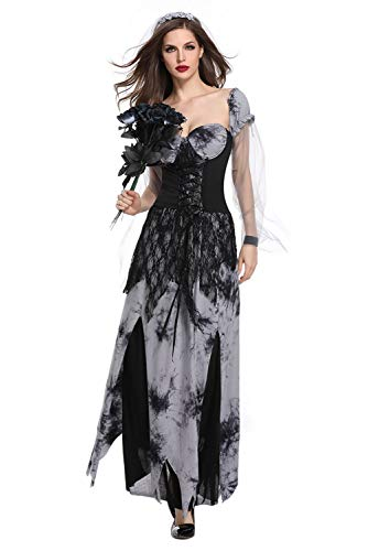 (Women's Ghost Vampire Dress Ghostly Bride Cosplay Costume Devil Zombie Game Uniform Grim Reaper Outfit Black with Veil)