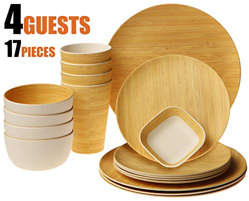 Earth's Dreams Reusable Bamboo Dinnerware Set for 4 Guest [17 Pieces] - Bamboo Fiber Tableware Set for Adult&Kids - Wooden Plates, Cups, Bowls, Square Saucer (Wood Grain) (Bamboo Dish Set)