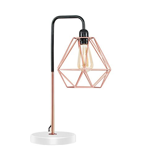 Diamond Cage Desk Lamp, Motent Modern Pyramid Birdcage Table Light, Antique Iron Wrought Bracket Stand, Industrial Steampunk Desk Accent Lamp, Vintage Lampshade for Loft Club Parlor - 058 Rose Copper