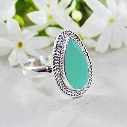Sivalya 925 Sterling Silver Cushion Cut Natural Peruvian Opal Gemstone Ring - Size 8 - Beautiful Teardrop Stone Ring for Women Handcrafted in Solid Silver - Great Gift for Her