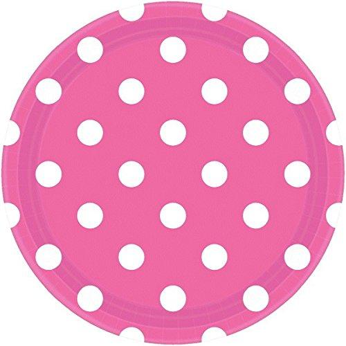 Bright Pink Dots Plates   8 Ct.  