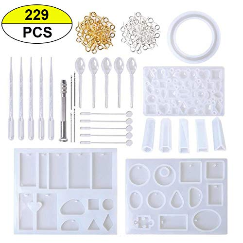 PRALB 229PCS Resin Silicone Casting Molds Tools Set, Resin Jewelry Casting Molds Cabochons Molds for Resin, Clay, Jewelry Making Molds with Oval, Heart, Square, Circle Shape