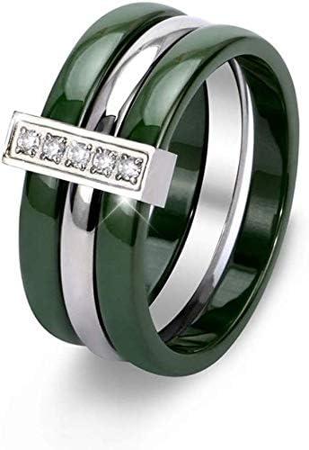 Anillos de joyería de cerámica verde con diamantes de imitación de tres capas, anillos de acero inoxidable que nunca se desvanecen, tamaño: 9, 7