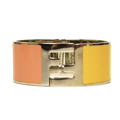 Fendi the Fendista Bangle Palladium Silver Enamel Pink & Yellow Cuff Bracelet by Fendi