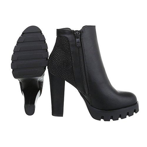 Mujer Design negro Botas Ital plisadas zXg60p