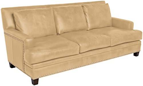 Omnia Leather Glendora 3 Cushion Sofa in Leather, with Nail Head, Softstations Swiss Coffee