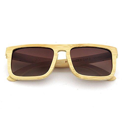 carrée forme main pour Lunettes lentille unisexe bois plein protection soleil à cadre en adulte la KOMEISHO Marron de UV400 Couleur Bleu PZqzqv