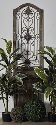 Deco 79 Garden Style Wooden Door with Scrolling Ironwork, 19 by 1 by 72-Inch (Decor Door Old)